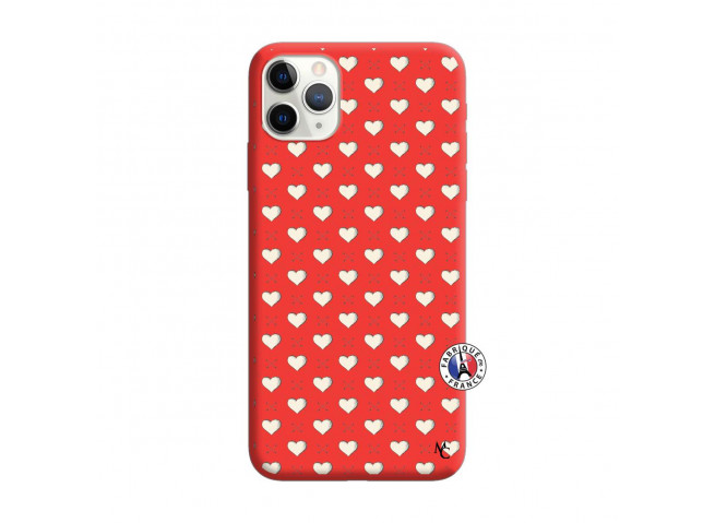 Coque iPhone 11 PRO MAX Little Hearts Silicone Rouge