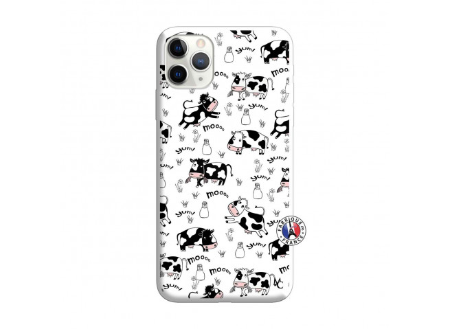 Coque iPhone 11 PRO MAX Cow Pattern Silicone Blanc