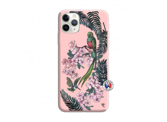 Coque iPhone 11 PRO MAX Flower Birds Silicone Rose