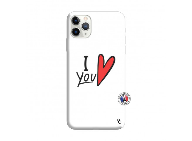Coque iPhone 11 PRO MAX I Love You Silicone Blanc