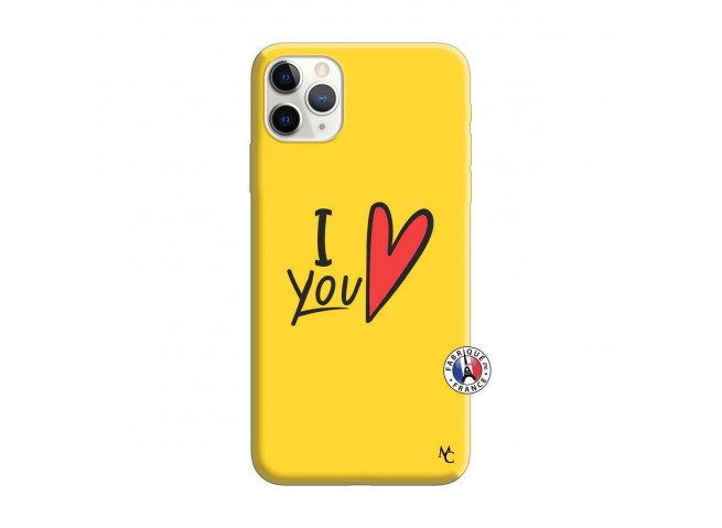 Coque iPhone 11 PRO MAX I Love You Silicone Jaune