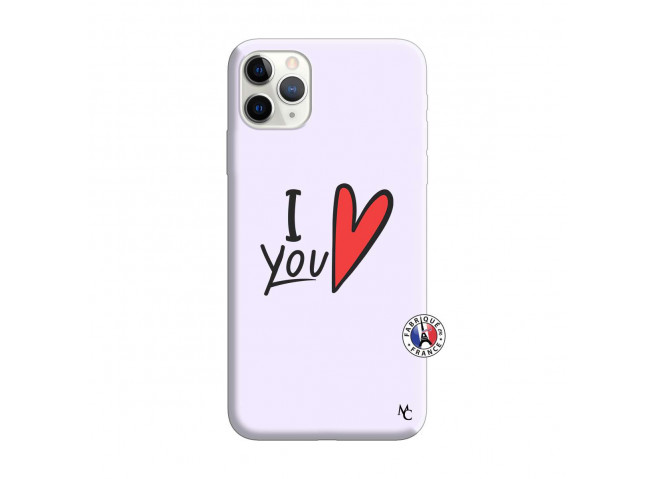 Coque iPhone 11 PRO MAX I Love You Silicone Lilas