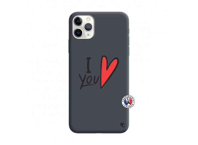 Coque iPhone 11 PRO MAX I Love You Silicone Navy