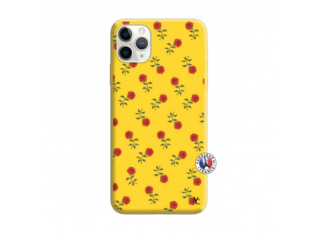 Coque iPhone 11 PRO MAX Rose Pattern Silicone Jaune