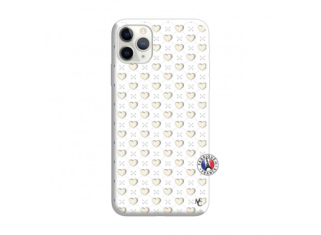 Coque iPhone 11 PRO Little Hearts Silicone Blanc