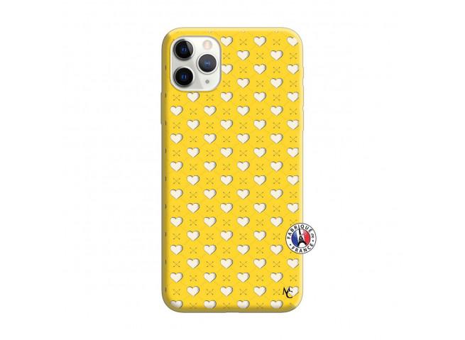 Coque iPhone 11 PRO Little Hearts Silicone Jaune