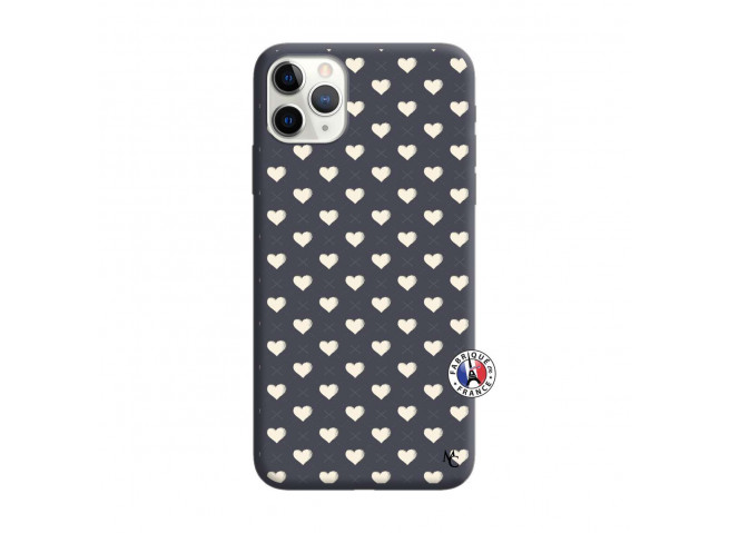 Coque iPhone 11 PRO Little Hearts Silicone Navy