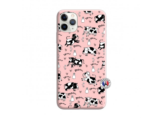 Coque iPhone 11 PRO Cow Pattern Silicone Rose