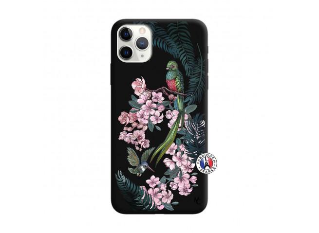 Coque iPhone 11 PRO Flower Birds Silicone Noir