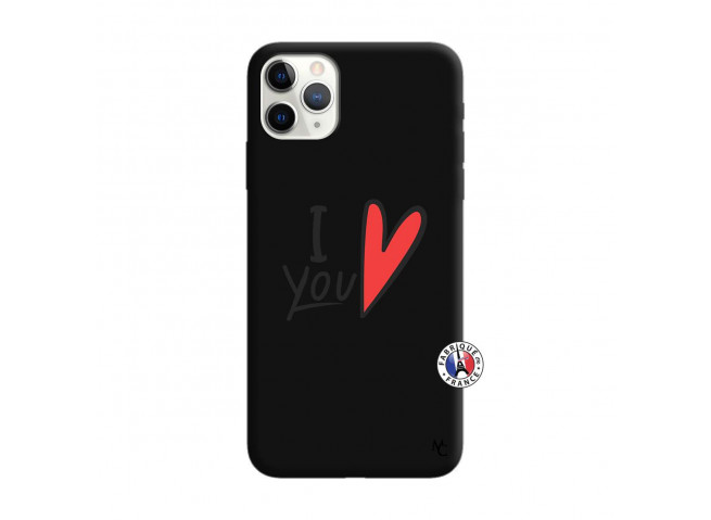 Coque iPhone 11 PRO I Love You Silicone Noir