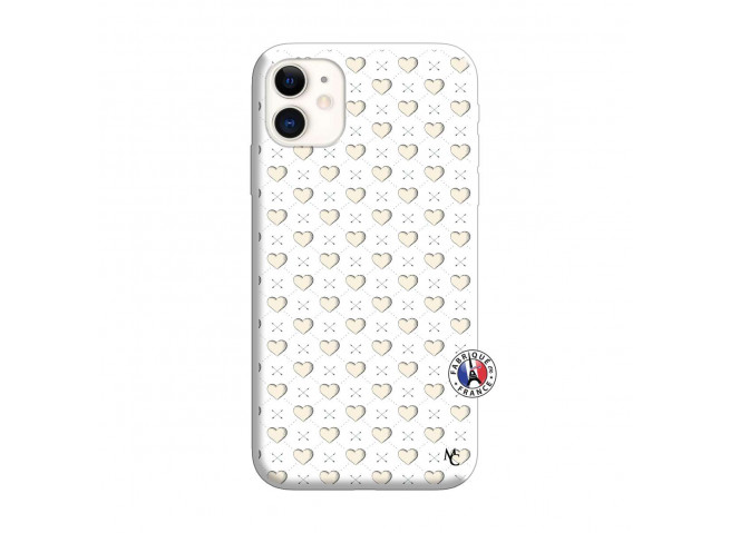 Coque iPhone 11 Little Hearts Silicone Blanc
