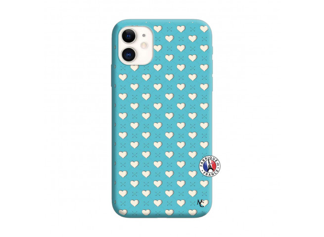 Coque iPhone 11 Little Hearts Silicone Bleu