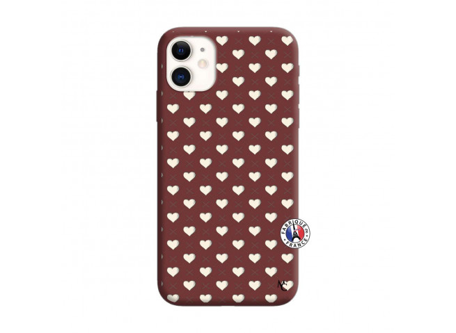 Coque iPhone 11 Little Hearts Silicone Bordeaux