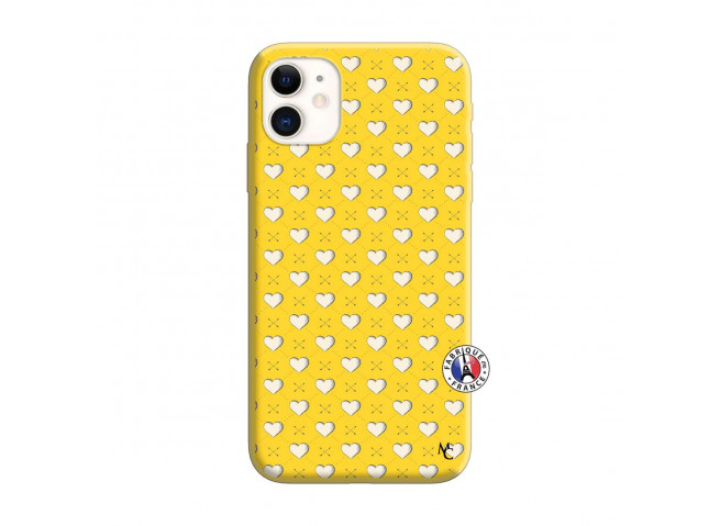 Coque iPhone 11 Little Hearts Silicone Jaune