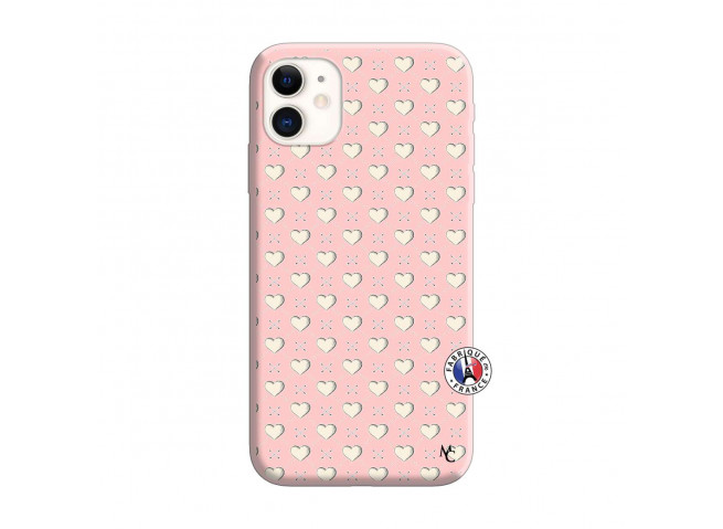 Coque iPhone 11 Little Hearts Silicone Rose