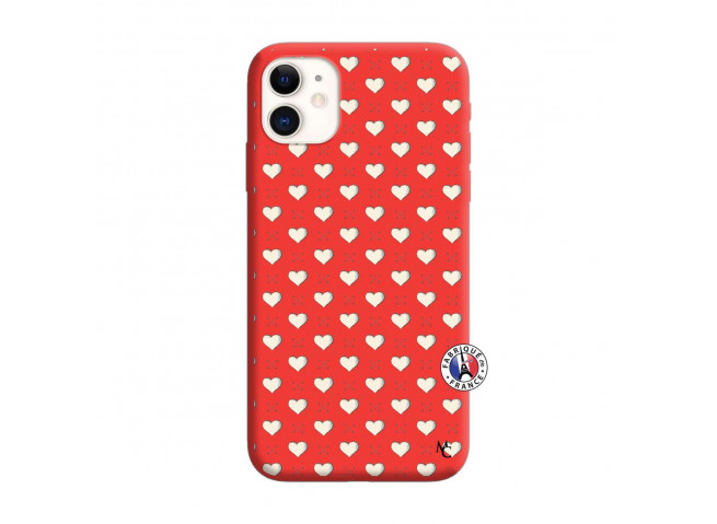 Coque iPhone 11 Little Hearts Silicone Rouge