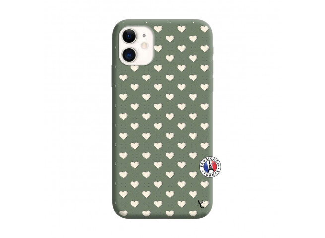 Coque iPhone 11 Little Hearts Silicone Vert