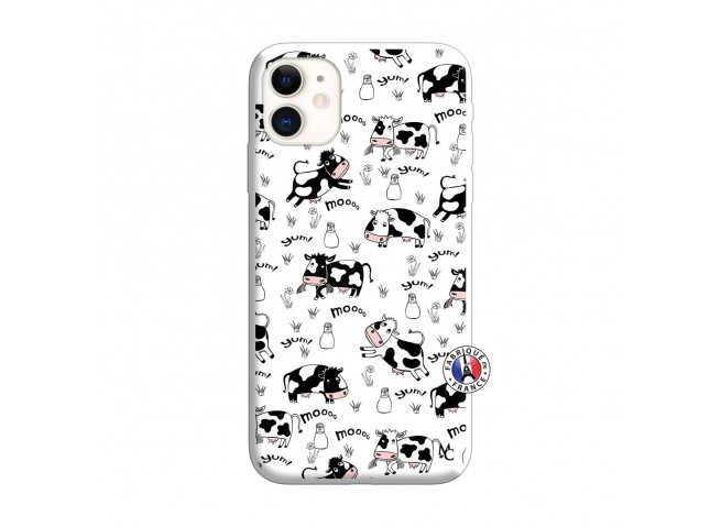 Coque iPhone 11 Cow Pattern Silicone Blanc