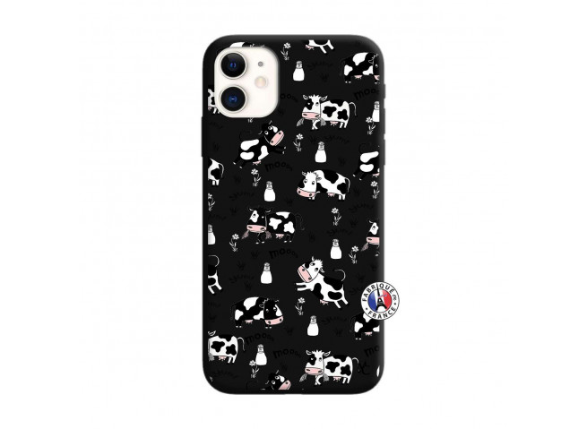 Coque iPhone 11 Cow Pattern Silicone Noir