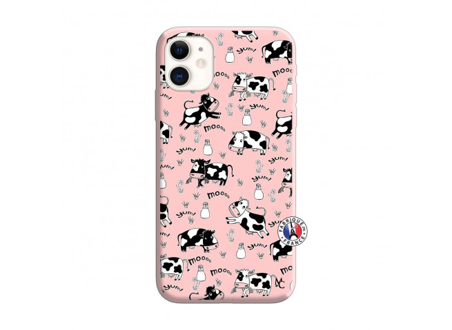 Coque iPhone 11 Cow Pattern Silicone Rose