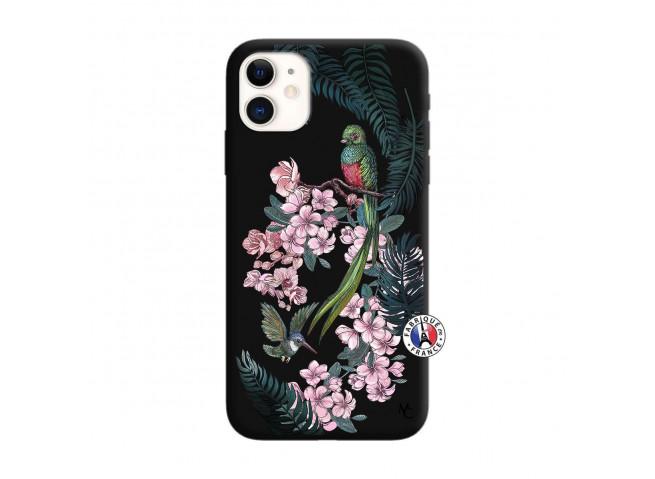 Coque iPhone 11 Flower Birds Silicone Noir