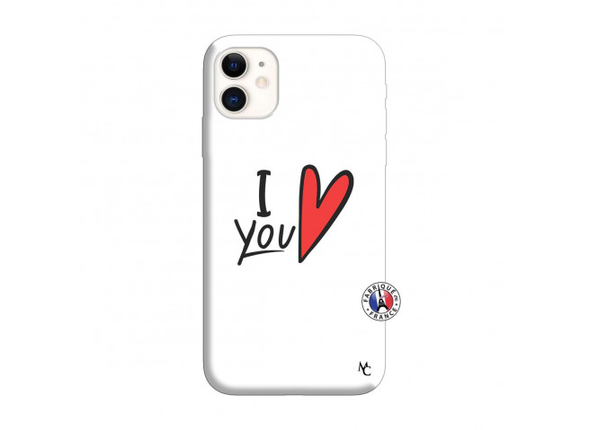 Coque iPhone 11 I Love You Silicone Blanc