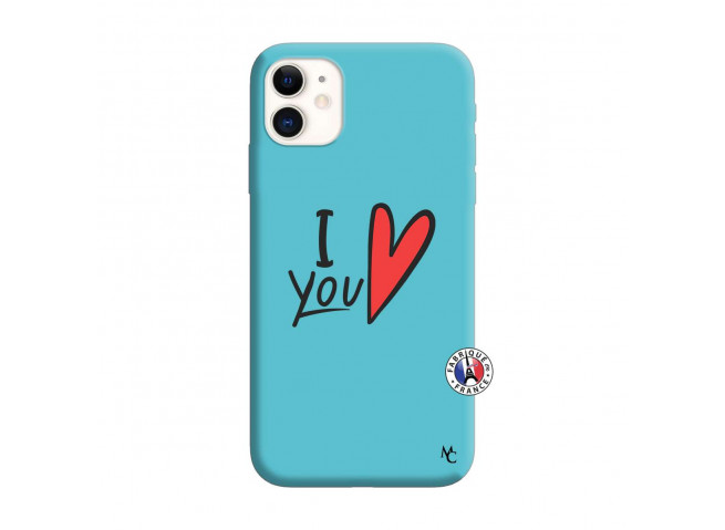Coque iPhone 11 I Love You Silicone Bleu