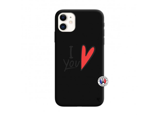Coque iPhone 11 I Love You Silicone Noir