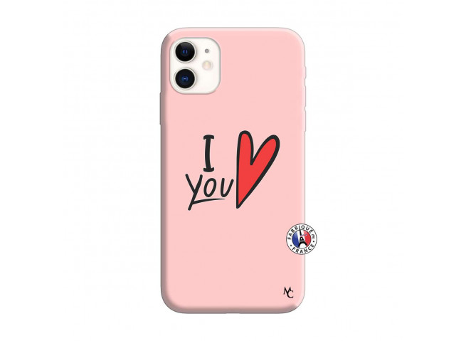 Coque iPhone 11 I Love You Silicone Rose
