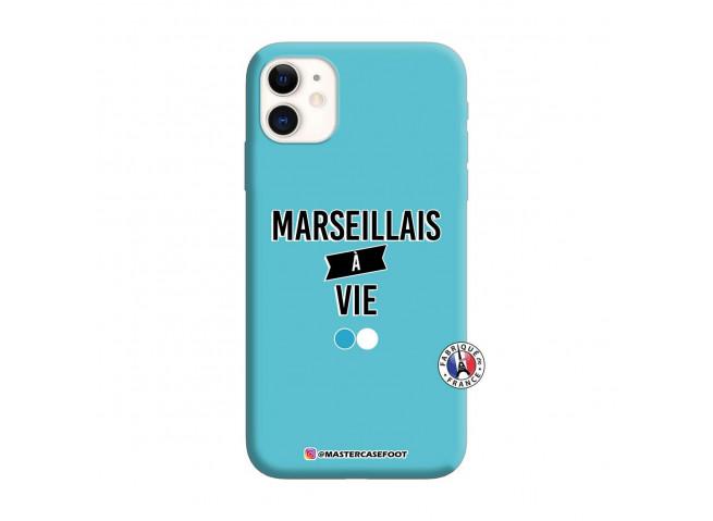 Coque iPhone 11 Marseillais à Vie Silicone Bleu