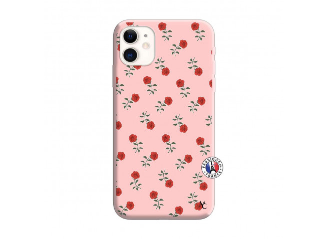 Coque iPhone 11 Rose Pattern Silicone Rose