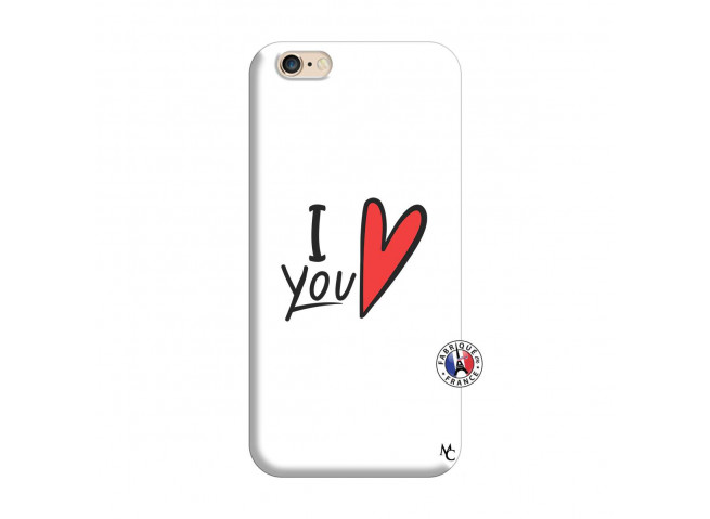 Coque iPhone 6/6S I Love You Silicone Blanc