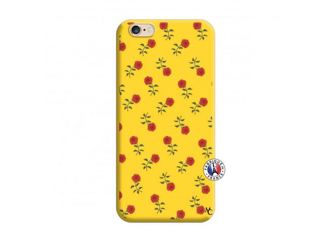 Coque iPhone 6/6S Rose Pattern Silicone Jaune