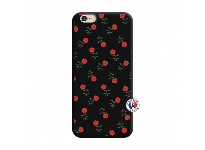 Coque iPhone 6/6S Rose Pattern Silicone Noir