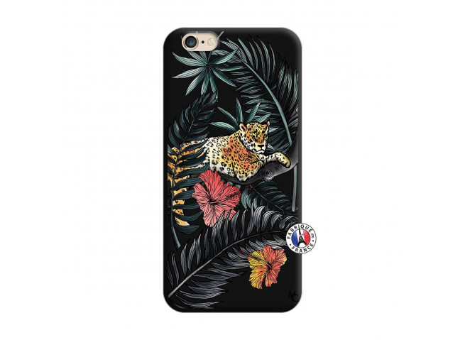 Coque iPhone 6/6S Leopard Tree Silicone Noir