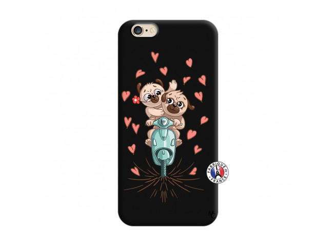 Coque iPhone 6/6S Puppies Love Silicone Noir