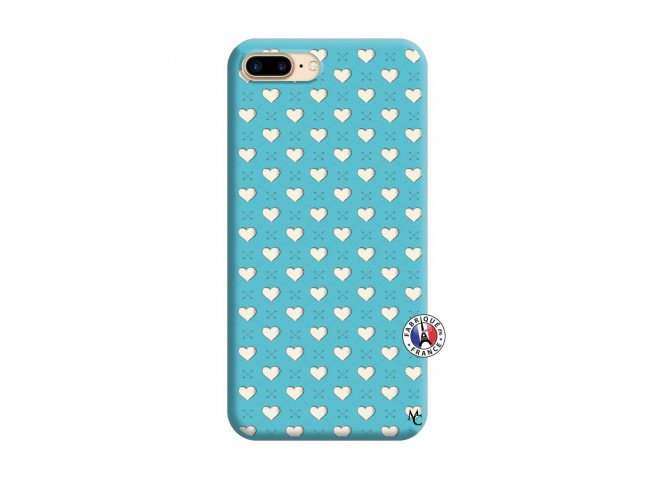 Coque iPhone 7 Plus/8 Plus Little Hearts Silicone Bleu