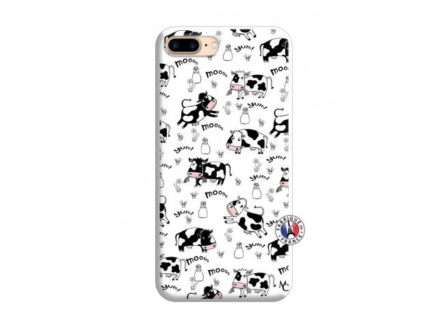 Coque iPhone 7 Plus/8 Plus Cow Pattern Silicone Blanc