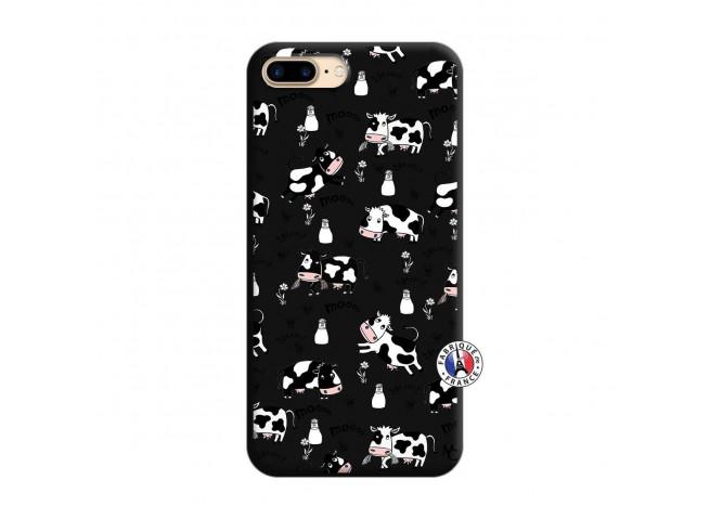 Coque iPhone 7 Plus/8 Plus Cow Pattern Silicone Noir