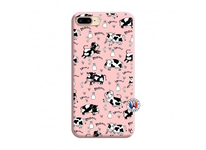 Coque iPhone 7 Plus/8 Plus Cow Pattern Silicone Rose