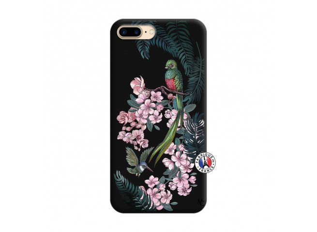 Coque iPhone 7 Plus/8 Plus Flower Birds Silicone Noir