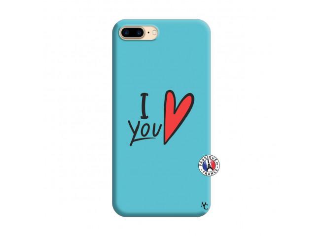 Coque iPhone 7 Plus/8 Plus I Love You Silicone Bleu