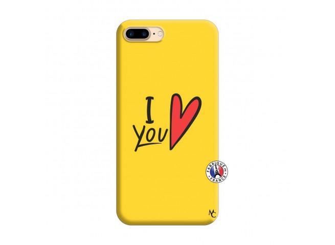 Coque iPhone 7 Plus/8 Plus I Love You Silicone Jaune