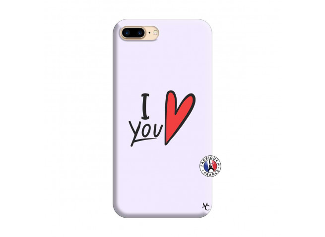 Coque iPhone 7 Plus/8 Plus I Love You Silicone Lilas