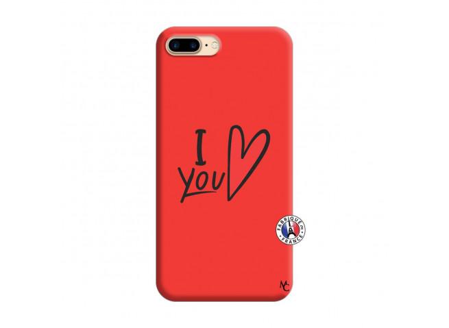 Coque iPhone 7 Plus/8 Plus I Love You Silicone Rouge