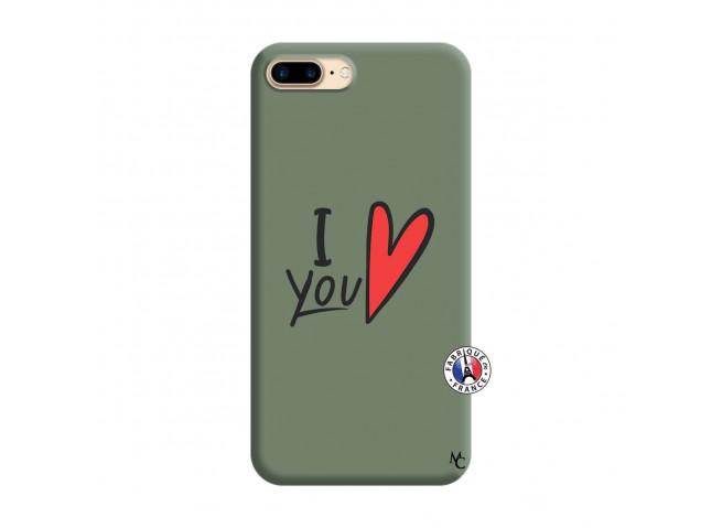 Coque iPhone 7 Plus/8 Plus I Love You Silicone Vert