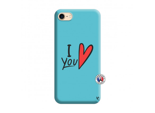 Coque iPhone 7/8 I Love You Silicone Bleu
