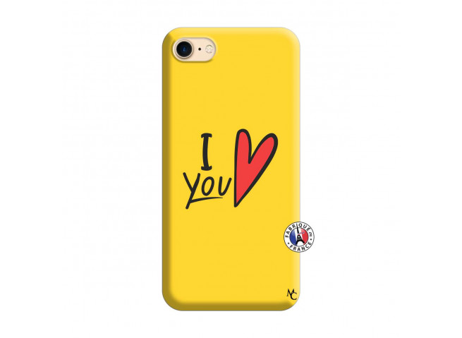 Coque iPhone 7/8 I Love You Silicone Jaune