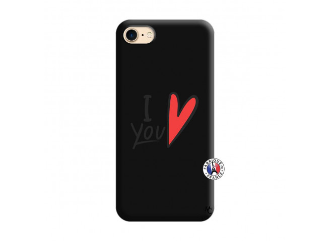 Coque iPhone 7/8 I Love You Silicone Noir