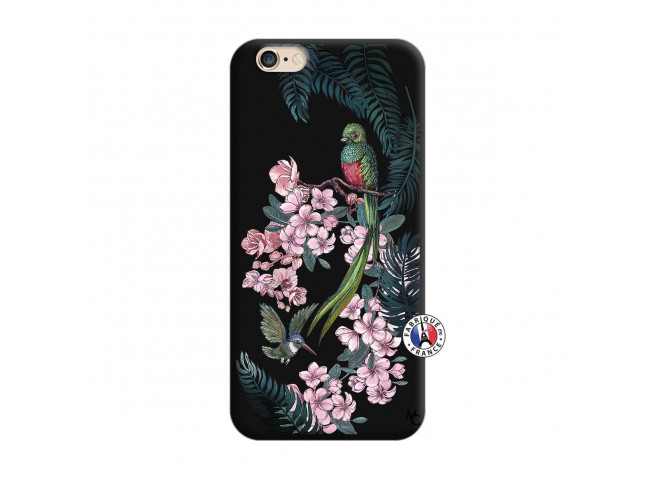 Coque iPhone 7/8/se 2020 Flower Birds Silicone Noir